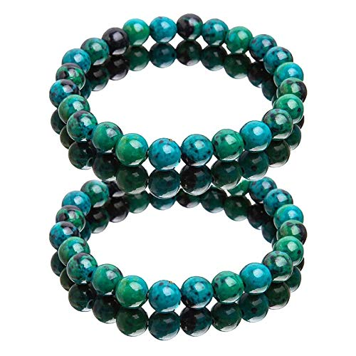 Handcrafted Diabetes Relief Chrysocolla Bracelet,Chrysocolla Crystal,Gift For Mother's Day/Father's Day 2pcs