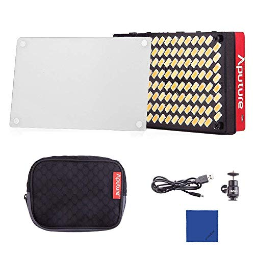 Aputure AL-MX LED Luce video 128 SMD LED Luce video bicolore su videocamera, TLCI/CRI 95+, 2800-6500K Regolabile, 3200lux @ 0,3 m Booster Modalità batteria integrata al litio