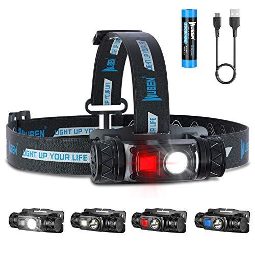 WUBEN H1 Lampada Frontale LED, 1200 Lumen Super Luminoso Torcia Frontale Ricaricabile con 10 modalità IP68 Impermeabile Lampade da Testa per Campeggio, Pesca, Trekking, Corsa, 18650 Batteria Inclusa