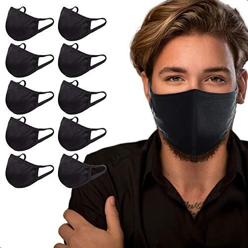 Pack 10pcs Cotton Black Faces Cover, Washable & Reusable, for Men & Women Sun Protection, Outdoors, Sports