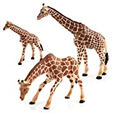 Hibon Giraffe Family Model Simulated Giraffe Figurine Realistic Plastic Wild Animals for Collection Science Educational Props, Set of 3