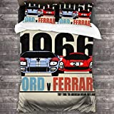 "Holderoo Ford Vs Ferrari 3-Piece Bedding Set 86"""" X70 Comforter Quilt Set Twin Size Soft Duvet Cover Set with 1 Quilt Cover 2 Pillow Shams for Teens Boys Girls"
