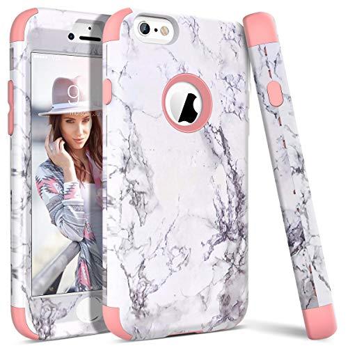 WE LOVE CASE iPhone 6 Plus Cover Marmo 360-Grad all Inclusive Custodia Rose Cassa Duro del PC di Plastica e Silicone Protezione Shock Proof Anti Graffio Caso per iPhone 6 Plus / 6s Plus 5,5'