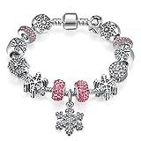 Presentski Braccialetto del braccialetto di fascino con il fiocco di neve per il regalo festa della mamma