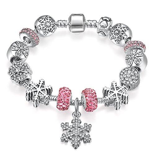 Presentski Il braccialetto di fascino placcato argento con fiocco di neve per il regalo festa della mamma