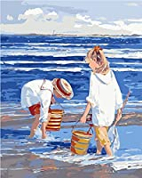 子供のための番号キットによるペイント大人ビーチで遊ぶ青い海辺の子供40x50cmキャンバス上の初心者のための番号キットによるDIY大人のペイント