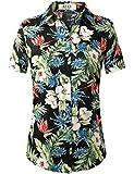 SSLR Camisas hawaianas con botones de algodón y manga corta para mujer - Negro - Large