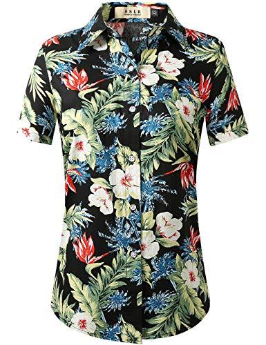 SSLR Damen Hawaiihemd Hawaii Bluse Kurzarm Blumen 3D Druck Freizeit Lose Aloha Shirt Strand Reise (Large, Schwarz)