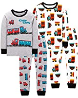 shelry Boys Pajamas Toddler Kids Train Pyjamas Children Cars Clothes 4 Pack 4-Pieces Sleepwear Pants Set 6t