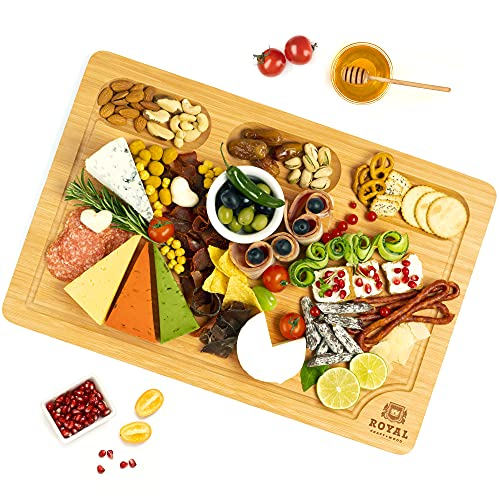 Extra Large Bamboo Cheese Board and Charcuterie Boards/Serving Tray with Built-in Compartments and Juice Groove for Cheese, Meat and Fruit (12