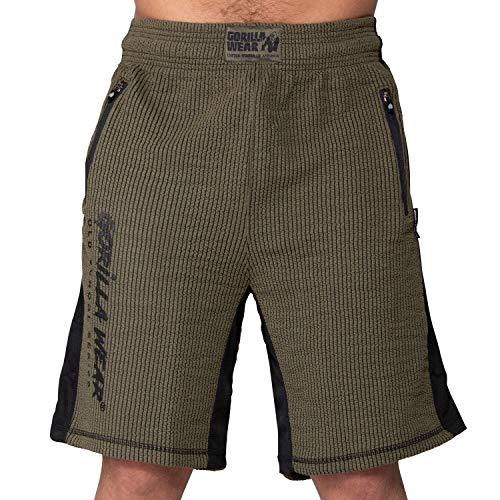 GORILLA WEAR Sport Shorts Herren - Augustine Old-School - Kurze Hose Bodybuilding Grün L/XL