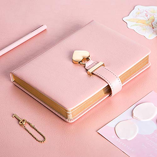 B6 Heart Shaped Combination Lock Diary with Key PU Leather Journal Diary with Lock and Key Journal Notebook with Lock Locking Journal Diary Notebook Journal Notebook for Girls and Women Pink