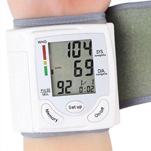 HRRH Tragbare Handgelenk-Typ Elektronische Sphygmomanometer Haushalt Genaue Blutdruck-Tester Ce Certified Medical Blutdruck Messgerät Gesundheit Geschenke für die ältere Blutdruckmessgerät Weiß