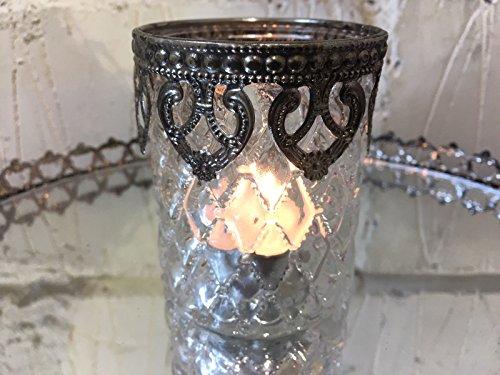 Homes on Trend Candela Tea Light Holder Chiaro diamante taglio vetro antico stile chic cuori in metallo