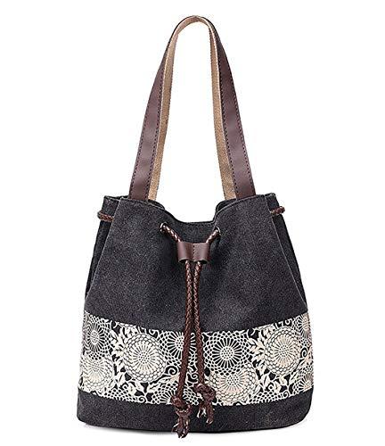 DNFC Damen Handtasche Canvas Schultertasche Umhängetasche Damen Shopper Tasche Schöne Vintage Henkeltasche Beuteltasche (Schwarz)