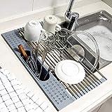 Koroda Estante enrollable para secar platos sobre el fregadero: SUS304 escurridor de platos de acero inoxidable con soporte para utensilios para fregadero de cocina (44,2 x 28 cm, gris)