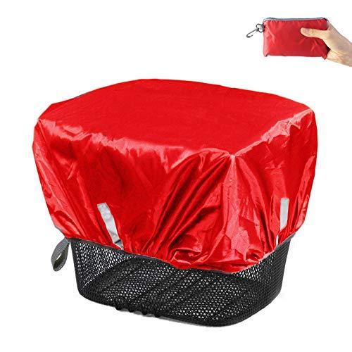 Frelaxy Regenschutz Abdeckung für Fahrradkorb, Wasserdicht Korbabdeckung Fahrradkörbe Regenhülle Regencape Regenhuabe mit Reflektorstreifen (Rot Neu, Einheitsgröße)