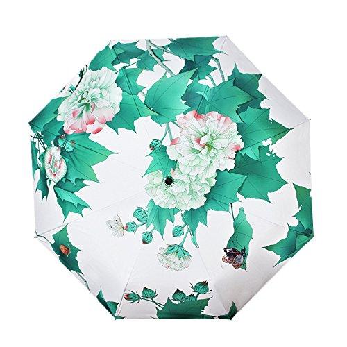 Sport Tent Regenschirm Chinesischer Traditioneller Klassischer Nationaler Stil Taschenschirm Faltbar Vinyl UV-Schutz Test Sonnenschirm Taschenschirme (Hibiscus Entfaltung)