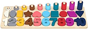 Lindahaot Children Math Toy Numbers Shapes 3-in-1 Board Digital Building Blocks Wooden 2-3 Baby Educational Toy