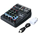 Mini Audio Mixer Sound Board Bluetooth Music Console Power Stereo with Power Cord 4...