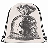 DHNKW Drawstring Backpack String Bag 14x16 Green Banking Bank Money Hundred Vintage Engraved Hand Finance Miscellaneous Cash Number Save American Rich Sport Gym Sackpack Hiking Yoga Travel Beach