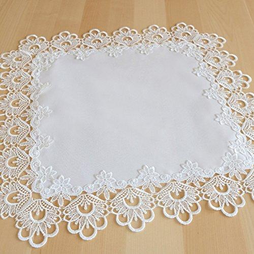 Mitteldecke 60 x 60 cm edle Makramee Spitze weiß Macramée Borte Tischdecke Deckchen Tischdekoration Typ524