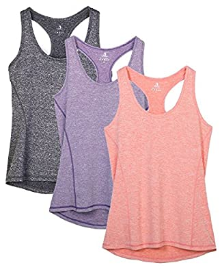 icyzone Workout Tank Tops for Women - Racerback Athletic Yoga Tops, Running Exercise Gym Shirts(Pack of 3)(M, Charcoal/Lavender/Peach)