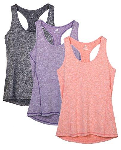 icyzone Damen Sporttop Yoga Tank Top Ringerrücken Oberteil Laufen Fitness Funktions Shirt, 3er Pack (L, Charcoal/Lavender/Peach)