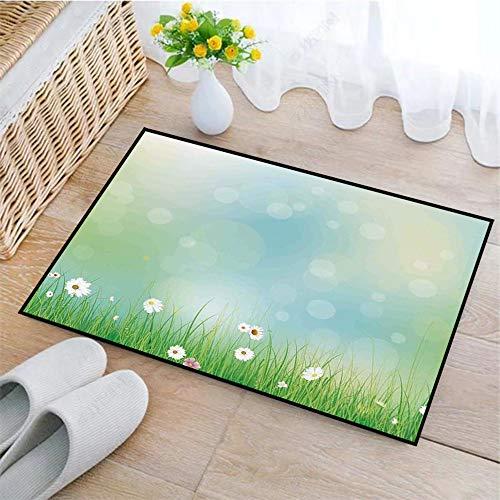 SHENGDA rutschfeste Badematte 45x75cm,Aquarell Blume, Fee Frühling blüht Muster mit Digital gemacht platzt Eierstock, grün blau,Badteppich auswaschbar Mikrofaser Teppich für Badezimmer