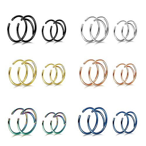 YADOCA 24 Pcs 20G Stainless Steel Moon Nose Ring Hoop Septum Ring Cartilage Helix Ear Piercing 8mm & 10mm