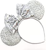 Silver Mickey Ears, Sparkly Mickey Ears, Bachelorette Mickey Ears, Bridal Mickey Ears, Minnie Ears, Silver Mickey Ears