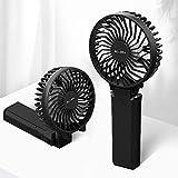 【2020年最新】Aujen 携帯扇風機 充電式 最大作動時間35h ハンディファン 手持ち扇風機 小型 卓上扇風機 5200mAh モバイルバッテリーあり パワーバンク 首かけ 携帯便利折り畳んで スタンド機能 ストラップ付き 分離式 ブラック