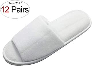 TRAVELWELL Open Toe Terry Spa Slippers Hotel Unisex Slippers for Women and Men 12 Pairs per Case White