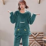 WEDFGX Plus Size M-3Xl Pigiama Invernale Addensato Donna Cute Cat Pigiama di Flanella Abito per Arredamento per la casa Velluto Corallo Abbigliamento per la casa Abbigliamento per Il Tempo Libero