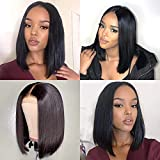 VRZ 13x6 T Part Lace Front Wigs Bob Straight Human Hair Short Wigs for Women Pre Plucked Lace Frontal Wigs Pre Plucked with Baby Hair (14 Inch)