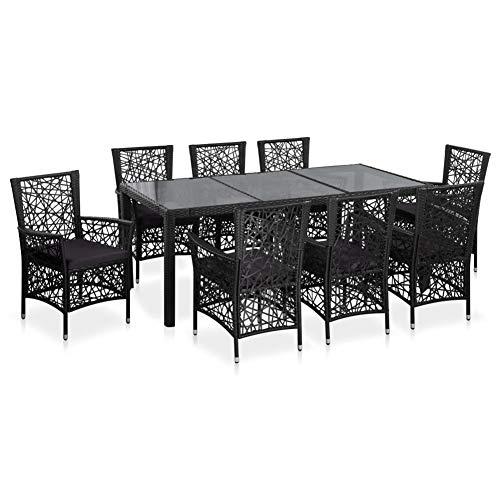 Juego de muebles de jardín de poliéster negro, de resina tejida impermeable y placa de vidrio endurecido, incluye 1 mesa y 8 sillas.