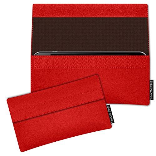 SIMON PIKE Hülle Tasche kompatibel mit Wiko Darkside   Filztasche Newyork in 2 rot aus Filz (echtem Wollfilz) Handyhülle