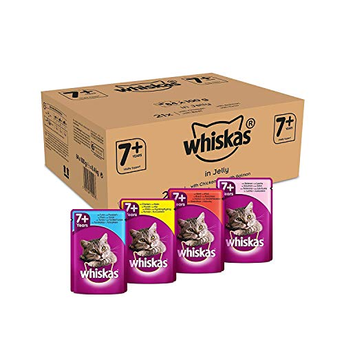 Whiskas Cat / Comida húmeda para gatos adultos 7+ Selección de pescado y aves de corral en gelatina, (84 x 100 g)
