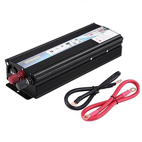 Inversor de energía, negro 2000 W DC 12 V a AC 220 V inversor de corriente de coche adaptador cargador USB