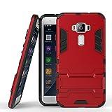 Handyhülle für Asus Zenfone 3 ZE520KL Hülle Schale Tasche, Ougger Extreme Schutz [Kickstand] Leicht Armor Schutz SchutzHülle Hart PC + Soft TPU Gummi 2in1 Rear für ZE520KL Rot