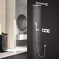 Gang-LL シャワー 壁の組立レインシャワー取り付け、内蔵シャワーシステム銅カスケード8インチのシャワーヘッドとハンドシャワー3つのボタン