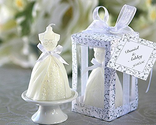 Lote de 16 Velas Vestido de Novia - Velas Recuerdos Invitados de Bodas Baratas - Detalles y Recuerdos para Bodas Invitados