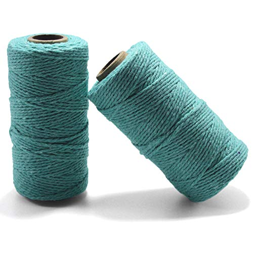 YZSFIRM 2mm Cotton Twine Rope,Light Blue String Bakers Twine for DIY Crafts and Gift Wrapping(2 Roll 656 Feet)