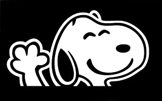 UR Impressions Snoopy Waving Decal Vinyl Sticker Graphics for Cars Trucks SUV Vans Walls Windows Laptop|White|6.2 x 3.6 Inch|URI298