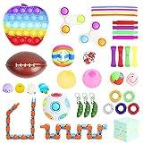 Sensory Fidget Toy Set Box for Kids 38 Pack Including Push pop, Fidget Spinners, Stress Balls, Pop Tubes, Bike Chain Fidget Toy, Anti Stress Infinity Cube, Magic Rainbow Puzzle Ball, Wacky Tracks