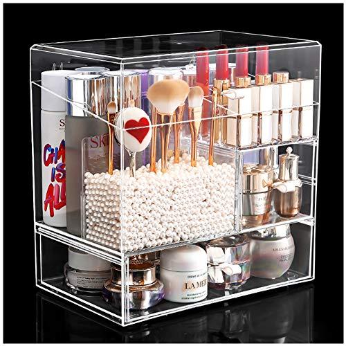 HLDWXN Organizador del Maquillaje, Joyería Ajustable Y El Soporte De Exhibición Cosmético, Claro Caja Acrílica Estante De Maquillajes Maquillaje Cosméticos Joyería Organizador,Transparente,Style1