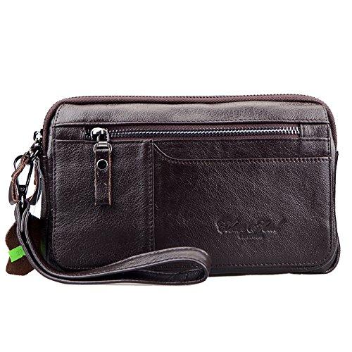 Genda 2Archer El Portador Portable del Teléfono Móvil del Bolso del Bolso de Mano de Cuero de los Hombres (23cm * 7cm * 14cm) (Marrón)