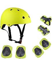 Lixada Juego de cascos y almohadillas para niños 7 en 1 ajustables para niños, rodilleras, coderas, muñequeras para scooter, monopatín, patinaje, ciclismo