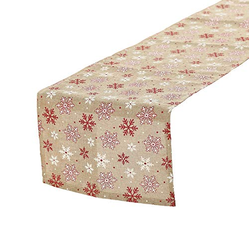 "Tosewever Christmas Table Runner for Farmhouse Dining Holiday Birthday Party Table Home Decoration, 14 x 72 Inches Happy Xmas Burlap Linen Table Runners (14"" x 72"", Red/White Snowflake)"