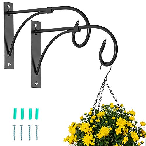 Nuptio 2 Pièces Support Panier Suspendu Crochets Plantes Extérieures, Crochets Clôture Noirs pour Paniers Suspendus, Crochets Suspension Jardin Métal Supports Suspension Plantes Lanternes